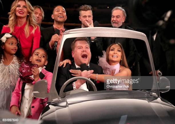 Blue Ivy Carter Guest Faith Hill Keith Urban John Legend during The 59th GRAMMY Awards at STAPLES Cent GRAMMY Awards host James Corden Ryan Tedder of...