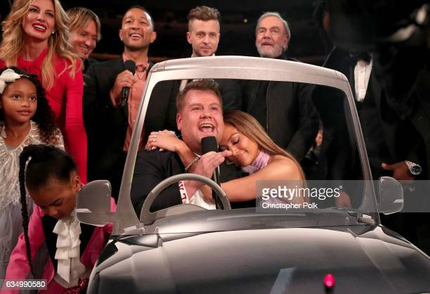 Blue Ivy Carter Guest Faith Hill Keith Urban John Legend GRAMMY host James Corden Ryan Tedder of OneRepublic Jennifer Lopez and Neil Diamond during...