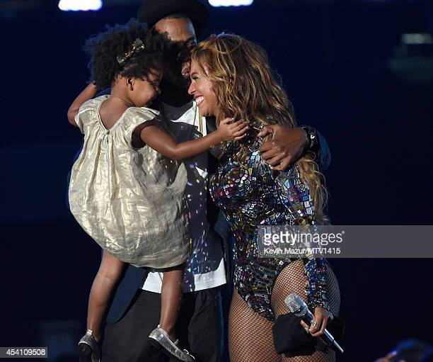 Blue Ivy Carter Jay Z and Beyonce onstage during the 2014 MTV Video Music Awards at The Forum on August 24 2014 in Inglewood California