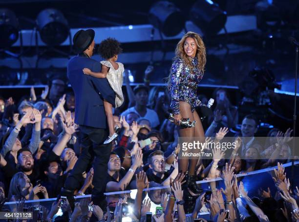 Blue Ivy Carter Jay Z and Beyonce onstage during the 2014 MTV Video Music Awards held at The Forum on August 24 2014 in Inglewood California