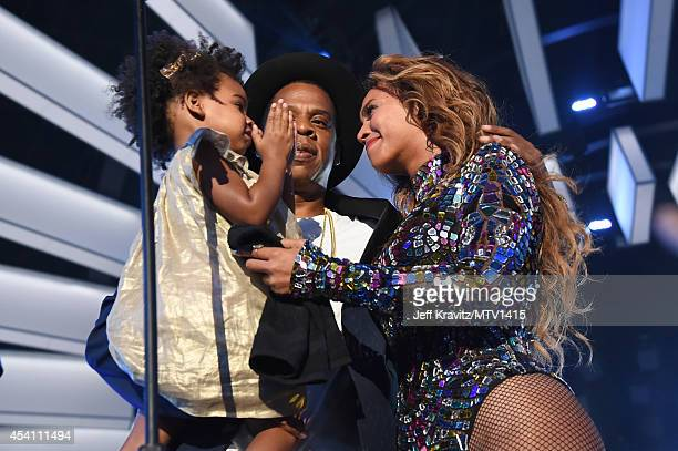 Blue Ivy Carter recording artists Jay Z and Beyoncé performs onstage during the 2014 MTV Video Music Awards at The Forum on August 24 2014 in...