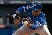 Blue Jays Ben Revere looks to lay down a bunt but the ball goes foul Toronto Blue Jays V Kansas City Royals in Game 2 of the American League...