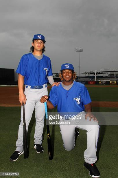 Blue Jays prospects Bo Bichette and Vladimir Guerrero Jr pose together before the Florida State League game between the Dunedin Blue Jays and the...