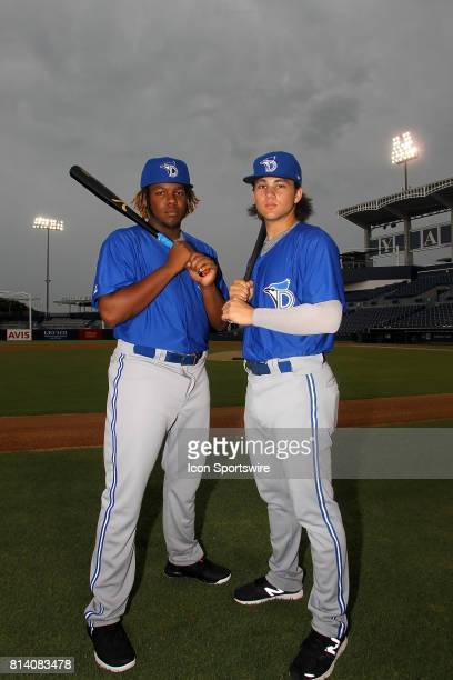 Blue Jays prospects Vladimir Guerrero Jr and Bo Bichette pose together before the Florida State League game between the Dunedin Blue Jays and the...
