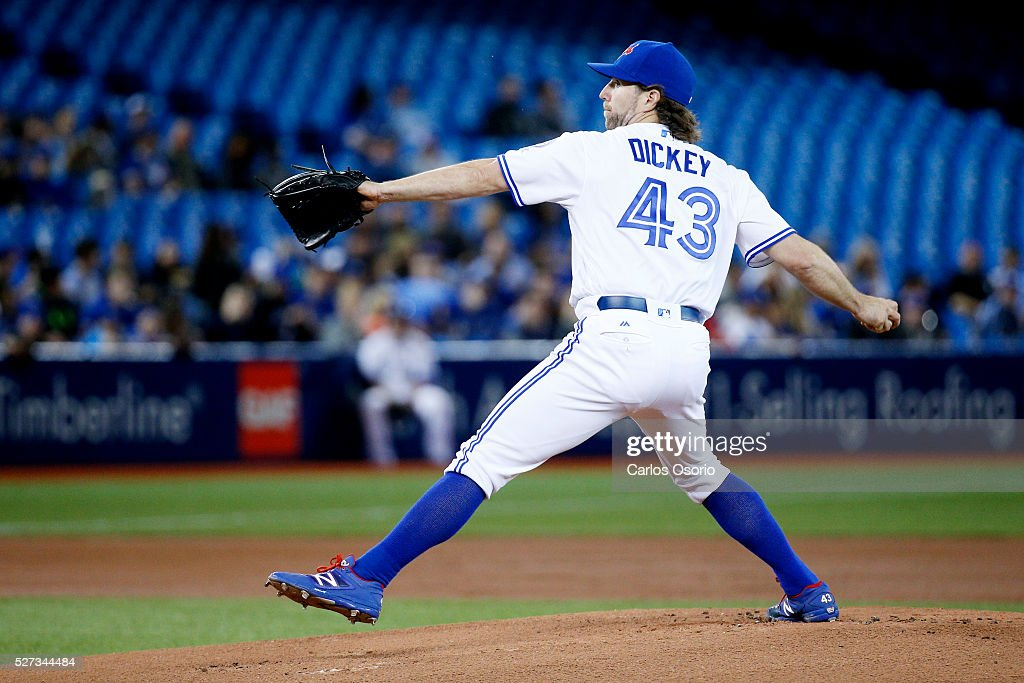 TORONTO, ON - MAY 2 - Blue Jays starter R.A. Dickey delivers a pitch during the 1st inning of the MLB game between the Toronto Blue Jays and the Texas Rangers at the Rogers Centre on May 2, 2016.