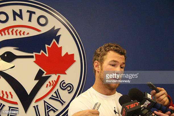 Blue Jays' third baseman Brett Lawrie speaks to the media Tuesday March 12 after returning from the World Baseball Classic where he suffered a...