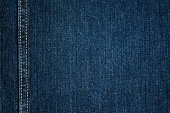 Blue Jeans Cloth With Seam. Background Texture.