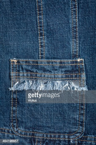 Blue jeans fabric with pocket : Stock Photo
