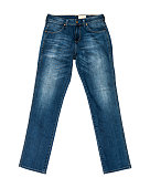 Blue Jeans Isolated on white background (front) with clipping path