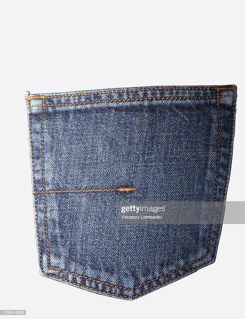 Blue jeans pocket, rear view, close-up