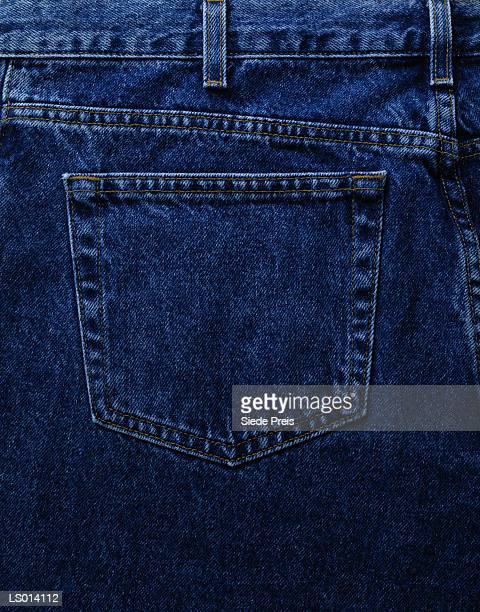 Blue jeans pocket, rear view, close-up