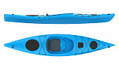 Blue Kayak isolated on white background. 3D render