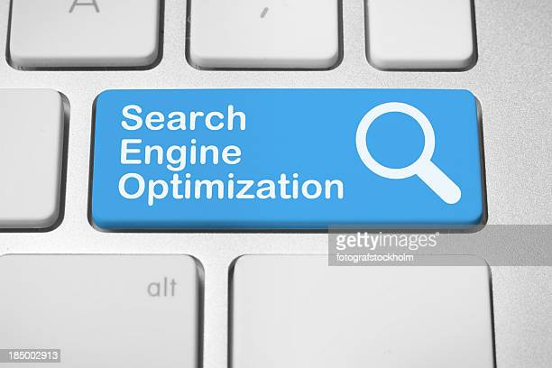 Blue keyboard button for search engine optimization