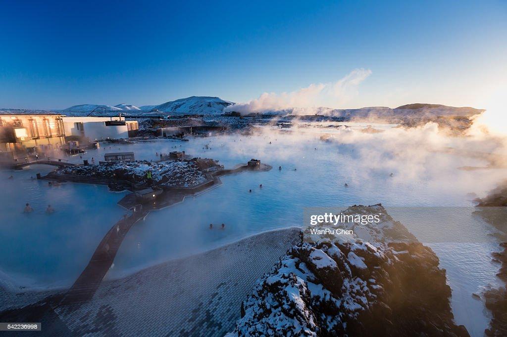 Blue lagoon sunrise in Iceland