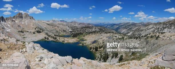 Blue lake in the granite barrens of the High Sierra