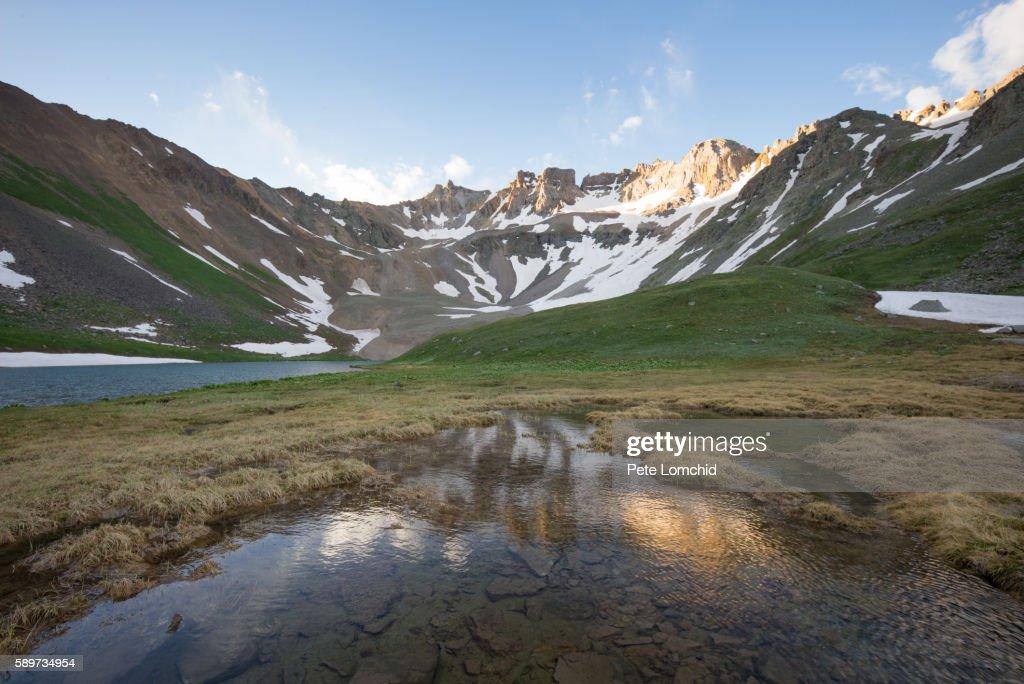 blue lake Sneffle range, morning