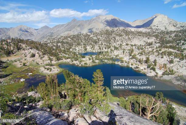 Blue lakes in the granite landscape of the High Sierra Nevada