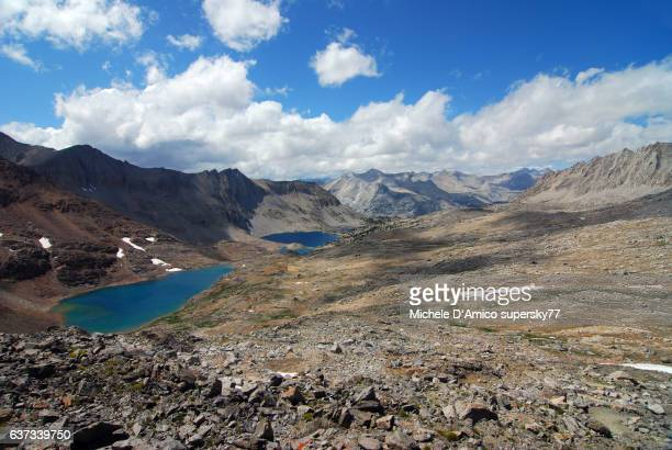 Blue lakes in the high altitude barren landscape of the High Sierra