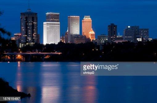 Blue landscape of the Tulsa, Arizona skyline at twilight