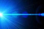 A blue bright laser ray on black background