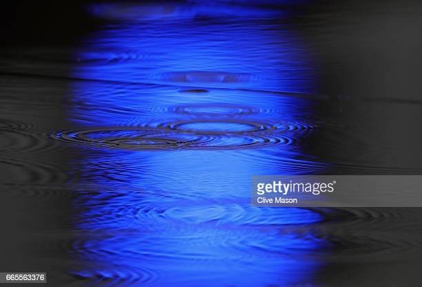 A blue light reflected in a puddle on the track during practice for the Formula One Grand Prix of China at Shanghai International Circuit on April 7...
