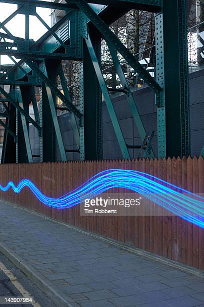 Blue light wave in urban environment.