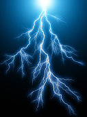 Creative anstract 3D render illustration of the blue lightning arc electric discharge hit strike light effect on dark black background
