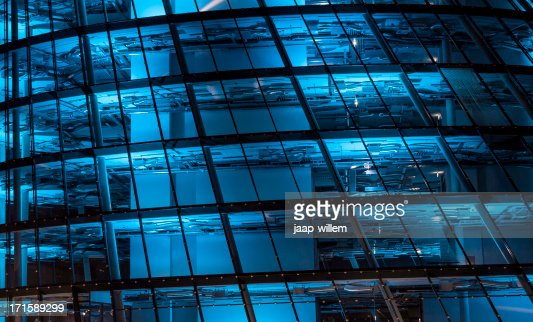 blue lit high tech office building stock photo getty images. Black Bedroom Furniture Sets. Home Design Ideas