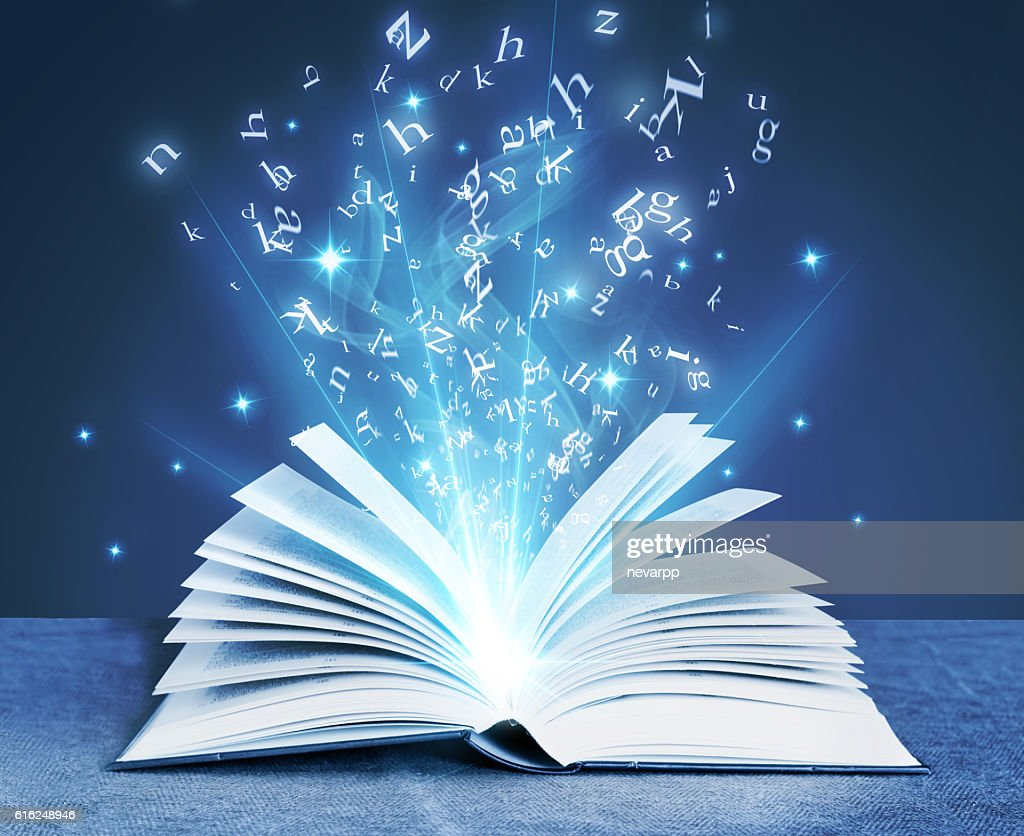 blue magical book : Stock-Foto
