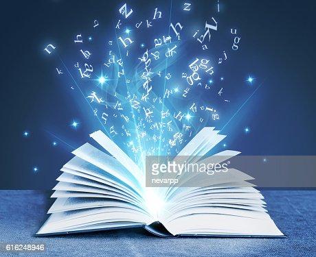 blue magical book : Stock Photo