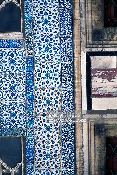 Blue majolica tiles on the Rivan kiosk built by Murat IV to commemorate the conquest of Yerevan in the fourth courtyard of Topkapi Palace Istanbul...