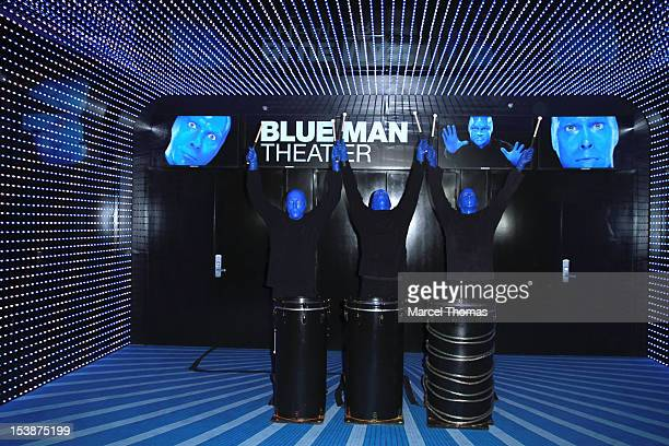 Blue Man Group celebrate their move to Monte Carlo Hotel and Casino Resort on October 10 2012 in Las Vegas Nevada
