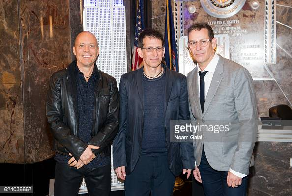 Blue Man Group CoFounders and original members Matt Goldman Phil Stanton and Chris Wink light the Empire State Building in celebration of their 25th...