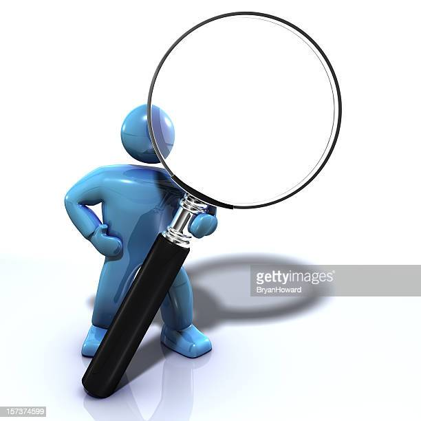 Blue man, Magnifying glass