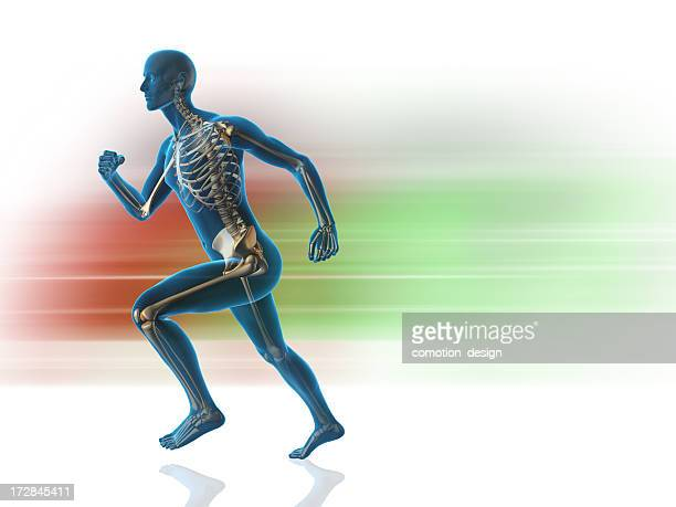 A blue man with skeleton showing that is running