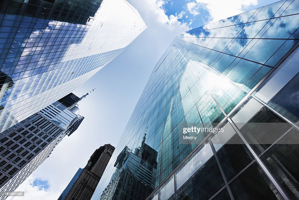 Blue Manhattan Skyscapers Wall Street Financial District New Yor