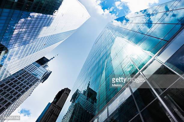Blue Manhattan Skyscapers Wall Street, dem Finanzviertel von New York City