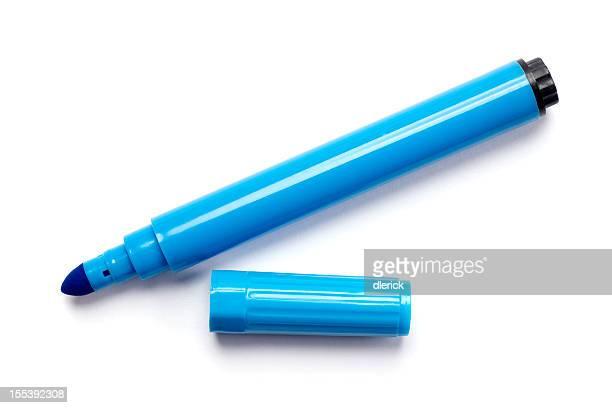 Azul bolígrafo marcador Aislado en blanco