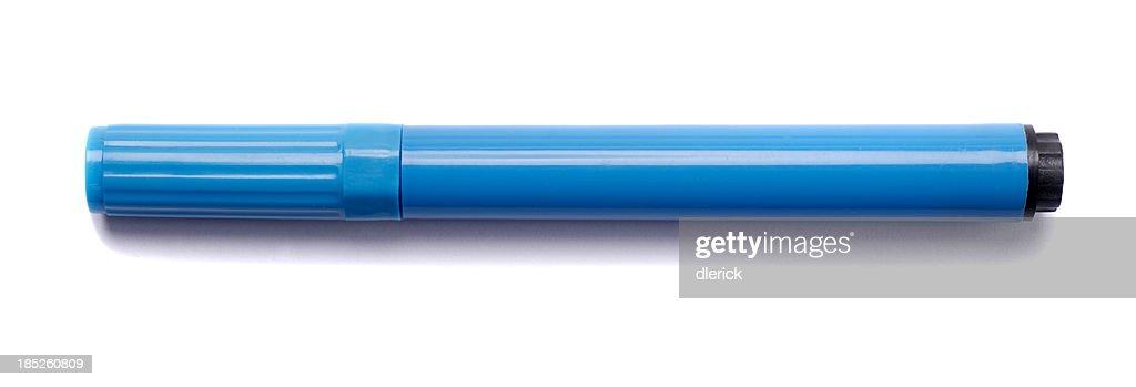 Bleu marqueur isolé sur blanc : Photo