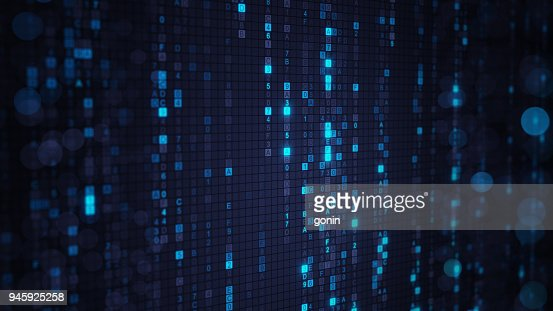 Blue matrix rain of digital HEX code with bokeh : Stock Photo