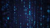 Blue matrix rain of digital HEX code with bokeh on computer screen. Abstract technology 3D render with shallow DOF