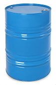 blue metal barrel, oil container isolated on white background