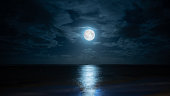 Composite image of moonrise on the eastern coast of Mauritius at Poste Lafayette.