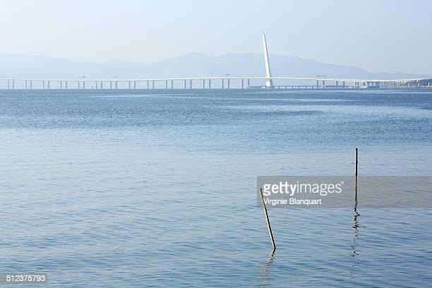 Blue morning by the Bay of Shenzhen and HongKong