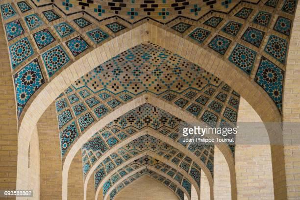 Blue Mosaic in Nasir ol Molk Mosque, Shiraz, Fars Province, Iran