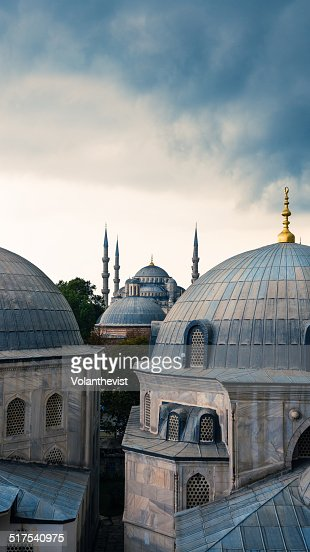 Blue mosque and domes in istanbul turkey stock photo for Blue istanbul hotel taksim