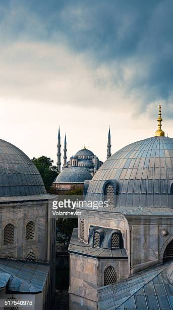 Blue mosque and domes in Istanbul, Turkey