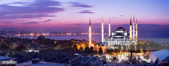 Blue Mosque at Night in Istanbul Turkey