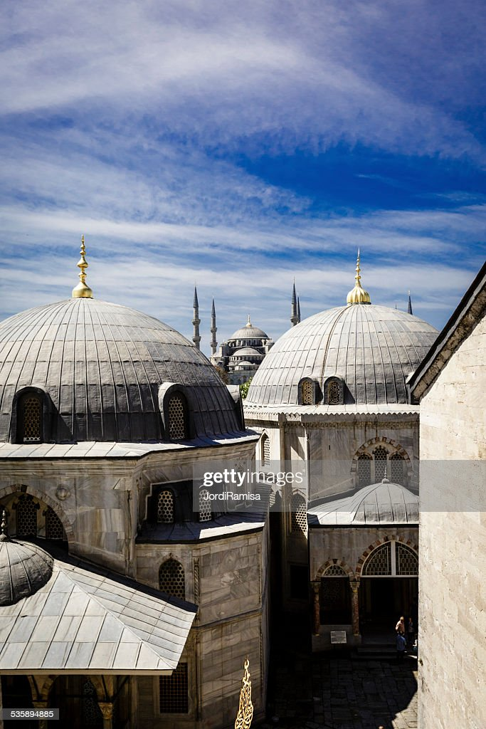Blue mosque from hagia sophia : Stock Photo