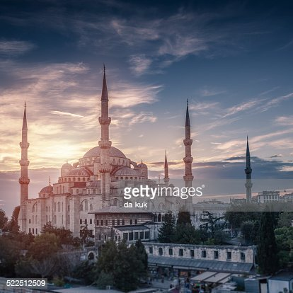 Blue Mosque in Istanbul at Sunset. Aerial view